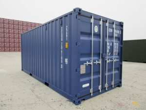 blue shipping container, new shipping container, 20ft shipping container