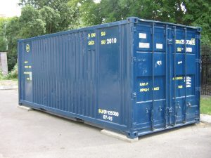 Blue 20 foot shipping container