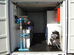 shipping container workshop, secure equipment storage, secure tool storage