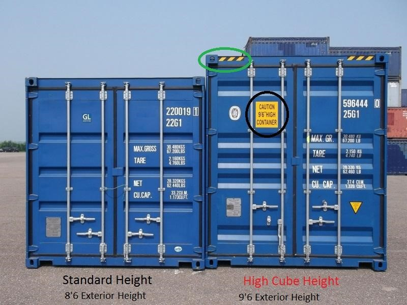 standard container and high cube container